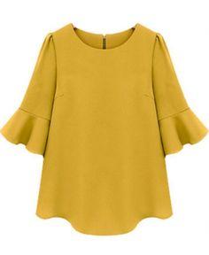 Yellow Ruffle Half Sleeve Loose Chiffon Blouse Source by Chiffon Shirt, Chiffon Tops, Ruffle Blouse, Ruffle Sleeve, Chiffon Ruffle, Looks Style, Style Me, Sr1, Mode Plus