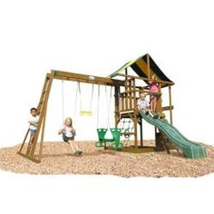 @Overstock - Your children will enjoy hours of fun on this wooden swing set from Andover. The swing set features a built-in sandbox, a rock climbing wall, and an eight-foot wavy slide. The gable tent roof shades the play deck from the hot afternoon sun.http://www.overstock.com/Sports-Toys/Andover-Top-Ladder-with-Rope-Accessories-Swing-Set/5969399/product.html?CID=214117 $1,050.99