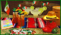 Find Mexican Fiesta party drink planning advice & cocktail recipes including signature drink margaritas, tequila & Kahlua mixed drinks, martinis & up drinks, types of Tequila & drinking it straight, a Cactus Jell-o shooter & how to rim the glasses. Mexican Dinner Party, Mexican Menu, Mexican Fiesta Party, Mexican Night, Mexican Drinks, Mexico Party, Fiestas Party, Neon Party, Party Party
