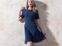 Marineblaues 60er Jahre Jerseykleid mit Punkten
