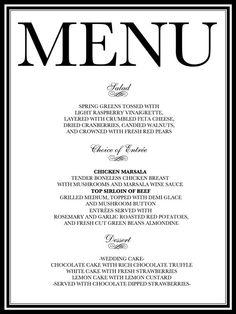 Custom Designed Wedding Reception Dinner Menu By Weddingsbyjamie 20 00