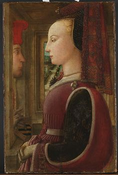 Love these sleeves! Medieval headdress, veil, jewelry, overdress, and slashed sleeves showing underdress. Portrait of a Woman with a Man at a Casement  Fra Filippo Lippi  (Italian, Florence ca. 1406–1469 Spoleto)
