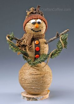 This quirky little handmade snowman is made from jute wrapped around styrofoam balls