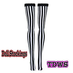 "Monster High 11"" Stockings - B&W Verticle - Doll Clothes"