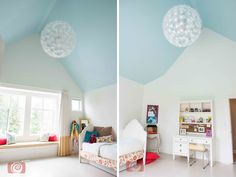 Blue ceilings paired with white walls lets the Ikea fixture pop against the color. Brilliant! Design by Lisa Moody