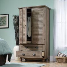 Wardrobe Cabinet Bedroom Storage or TV Armoire in Medium Brown Oak Finish $482.99  #homefurnishings #home #furnishings #furniture #decor #homedecor