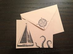 Sailboat & Sea Monster Cards (set of 5) $18.00, via Etsy. There's a squall coming, & it has tentacles. Handmade Mail: Carved & stamped with love in NYC. #Stationery