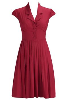 eShakti Women's Pleated poplin shirtdress Regular True red