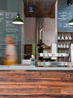 Market Lane Coffee in Melbourne - love the wood!