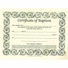 Printable fillable certificate of baptism printable for Certificate of salvation template