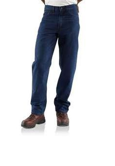 643109cb4b36 Carhartt flame resistant relaxed fit straight leg jean is garment washed  for softness. Made of