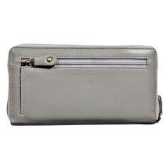 Portofel gri, de dama, Pellearts, din piele naturala Zip Around Wallet, Card Holder, Rolodex