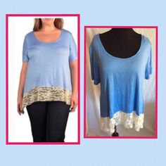 Lace Top Light blue top with lace on the bottom NWOT ...light weight an stretchy .. measures 29' long with a 42 bust . , slightly longer on the sides, size 2X ... Tops