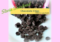 Stevia Sweetened Chocolate Chips (THM S, Low Carb, Diabetic friendly) Sugar free chocolate baking chips Also link for cinnamon chips, PB chips and white choc chips Low Carb Sweets, Low Carb Desserts, Healthy Desserts, Stevia Desserts, Diabetic Desserts, Healthy Baking, Healthy Foods, Sugar Free Desserts, Sugar Free Recipes