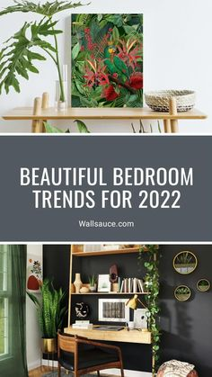 Bedroom trends for 2022 are here and you won't be disappointed! From luxurious dark bedrooms and colour schemes inspired by nature to vintage Cottagecore bedroom inspiration and how to incorporate plants into your bedroom décor, these bedroom interior ideas are here to inspire your next bedroom makeover! Discover more at Wallsauce.com!