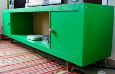 Turn Expedit into Vintage Looking TV Sideboard - IKEA Hackers Not in green but a cool idea