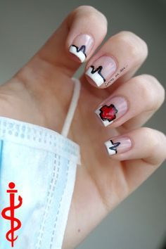 French tip : Nurse nails, even though no medical professional can keep manicured nails. Fancy Nails, Pretty Nails, Nurse Nails, Hair And Nails, My Nails, Nail Manicure, Nail Polish, Modern Nails, Nails For Kids