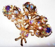 Hollycraft Brooch Pin Aurora Borealis by BrightgemsTreasures