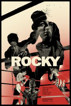 "Officially Licensed, Screen printed poster art - Gabz - ""Rocky"" - - Limited Edition Variant - Movie Poster - Sylvester Stallone - Print Run: 175 Movie Poster Art, Poster S, Cool Movie Posters, Famous Movie Posters, Canvas Poster, Vintage Movies, Vintage Posters, Rocky Poster, Rocky Balboa Poster"