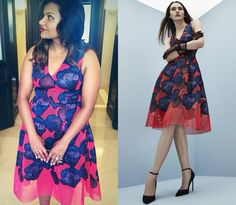 Mindy wore this appliqued floral mesh dress at the Cannes Film Festival!