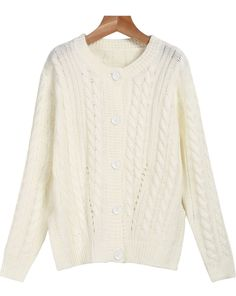 White Long Sleeve Buttons Cable Knit Sweater 25.00