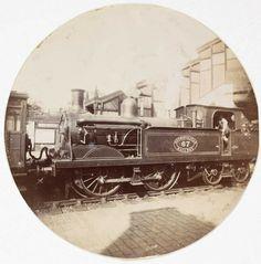 Metropolitan railway steam locomotive, about 1890  Kodak No.1 circular snapshots