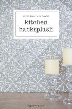 Home Interior Cocina Modern Vintage Kitchen Backsplash! Add a modern vintage look to your kitchen with a handmade tile backsplash. Seen here is our Cobham pattern in Slate Gray. Shabby Chic Kitchen, Kitchen Decor, Kitchen Design, Kitchen Modern, New Kitchen Cabinets, Kitchen Backsplash, Backsplash Ideas, Gray Tile Backsplash, Kitchen Flooring