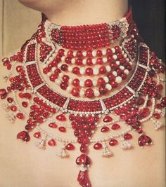 Patiala Necklace 460-The Ruby necklace and pearl necklace made for Sir Bhupindra Singh, The piece he ordered from the Maison Cartier in 1928, and the one he became famous for, is now known as the Patiala Necklace.  It contained some 2,930 diamonds including the world's 7th largest 'De Beer's diamond as its centrepiece weighing in at 428 carats.  It dramatically disappeared in 1948 and was quietly recovered in 1998, with the main diamond and many of its larger stones missing