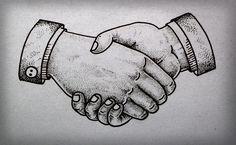 Handshake tattoo by Guilherme Hass, via Behance