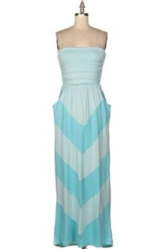 New Light Blue And Aqua Chevron Print Maxi Tube Dress Size Small #Unbranded #Maxi #Casual