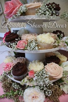 Cupcake & Flower Tower in Our Easy & Frug-Elegant Bridal Shower Decor! Personal Touches can add so much love to your bridal shower. Backyard Bridal Showers, Chic Bridal Showers, Elegant Bridal Shower, Wedding Showers, Elegant Wedding, Trendy Wedding, Boho Wedding, Rustic Wedding, Wedding Shower Decorations