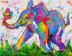 Vrolijk Schilderij Vrolijke olifant met bloem Colorful Elephant, Elephant Art, Giraffe, Funny Paintings, Animal Paintings, Elephant Illustration, Classic Artwork, 5d Diamond Painting, Arte Pop