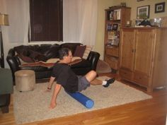 using a foam roller for piriformis syndrome. I use the 18 inch roller with knobs on it.