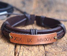 Personalized Men's Roman Numeral bracelet Unique by DesignForMen