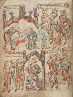 Обрезание Господне. Поклонение волхвов; Англия; XIV в.; памятник: Библия (Bible ('Holkham Bible Picture Book'). 1327-1335гг.