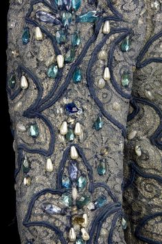 Costume by Nicholas Giorgiadis for Rudolf Nureyev in the role of Prince Siegfried, Act I, in Swan Lake, Vienna State Opera Ballet, 1964. Silver lace and blue silk doublet, trimmed with blue rhinestones, faux pearls, pleated linen collar and cuffs, and blue soutache. Collection CNCS/Rudolf Nureyev Foundation. Photograph by Pascal François/CNCS
