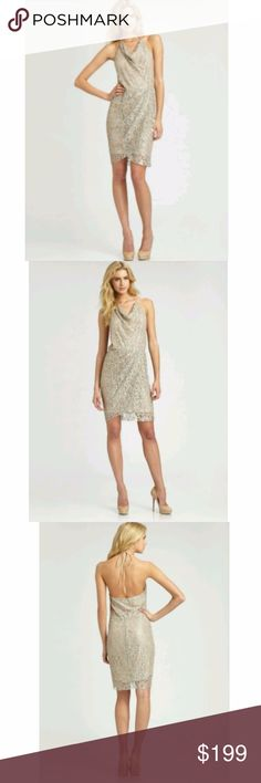 Haute Hippie Silver Lace Embellished Halter Dress Size XS - Embellished mini dress, perfect for an evening cocktail party. Constructed of lightweight beige-nude slip with lace and bead overlay. Beads are clear and blush pink; lace is gray and silver-tone. Halter neckline; halter ties are beige-nude ribbon. Elasticized waistband. Light pleating below waist. Falls above knees. Lined.  Color: Beige, Blush, Silver-Tone Style: Cocktail, Mini-Length, Embellished Fabric Content: 87% Nylon, 13%…