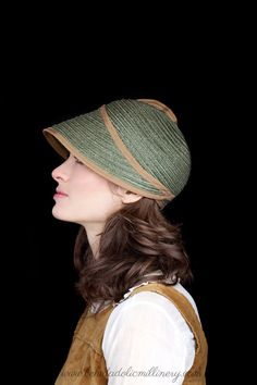 Straw Hat Cap Vintage Olive by behidadolicmillinery on Etsy