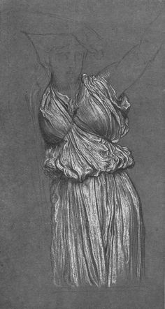 Drapery. Study for The Last Watch of Hero. by Frederic Leighton. Academicism. sketch and study