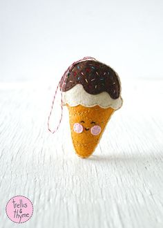 PDF Pattern - Ice Cream Cone, Kawaii Felt Ornament Pattern, Felt Softie Sewing Pattern, Felt Toy Pattern
