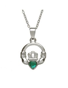 """This eye-catching Claddagh pendant features an Irish green gem within the heart! The Claddagh beautifully represents love, loyalty and friendship making this a wonderful Irish gift for a loved one! This Claddagh pendant measures approximately ¾"""" tall by 5/8"""" wide and is silver plated! It comes on an 18"""" long silver plated chain. The green stone Claddagh is crafted in Co. Dublin, Ireland"""