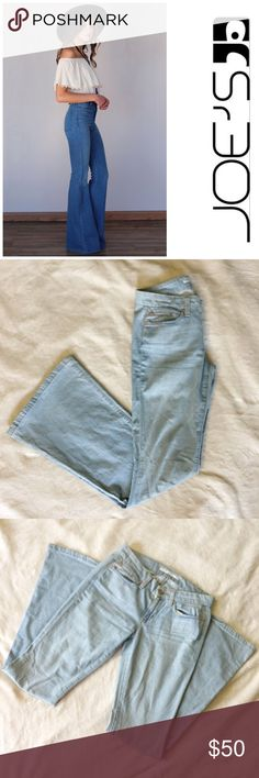 """• Stardust Jeans by Joe's Jeans • Light-wash stretch denim with fading through the seat and thighs is fashioned into cleanly styled jeans with wide, flared legs at the knee breaks. Zip fly with button closure. Five-pocket style with leather logo patch and small welt pocket on back pocket. Brown stitching. Approx. inseam: 34"""" with 24"""" leg opening. Approx. rise: front 7 1/2""""; back 12 1/2"""". • no modeling or trades  Cotton/elastane; machine wash. Joe's Jeans Jeans Flare & Wide Leg"""