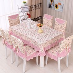 Floral Pastoral Photo Print Home Kitchen Party Table Cloth Set Suit Tablecloth Rectangular Tablecloth chair cover Chair Back Covers, Sofa Cushion Covers, Chair Covers, Cushions On Sofa, Table Covers, 6 Seater Dining Table, Kitchen Table Chairs, Table And Chairs, Furniture Covers