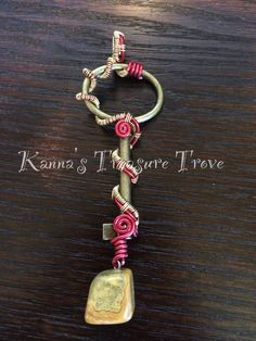 Red and Gold Alloy Antique Key Replica Necklace with Agate Accent by KannasTreasureTrove on Etsy