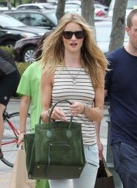 Rosie Huntington Whiteley with Celine Emerald Green Suede Phantom Bag for Fall 2012
