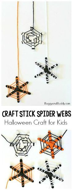 Halloween Craft for Kids: Spider Webs made from popsicle sticks and yarn! Fun fine motor practice and make such a cute decoration for…