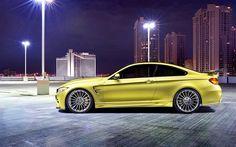 BMW M4, 4k, Hamann, tuning, supercars, F82, night, yellow m4, BMW