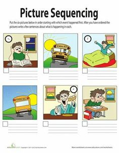 RI Worksheets: Picture Sequencing - cut apart and retell with sequencing words. Story Sequencing Worksheets, Sequencing Activities, Speech Therapy Activities, Language Activities, Comprehension Worksheets, Story Sequencing Pictures, Sequencing Events, Writing Worksheets, Speech Language Therapy