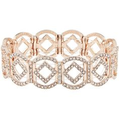 Accessorize Cut Out Diamond Stretch Bracelet ($23) ❤ liked on Polyvore featuring jewelry, bracelets, diamond jewellery, stretch jewelry, diamond bangles, rose gold tone jewelry and accessorize jewelry
