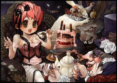 A delightful evening by MortMorrison on DeviantArt Hiragana, Computer Animation, Japanese Words, Tea Party, How To Draw Hands, Goth, Deviantart, Cartoon, Manga